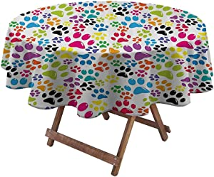 Round Outdoor Tablecloth Dog Lover Decor for Wedding/Restaurant/Parties Colorful Little Paws Cute Steps Childish Artwork Cartoon Unusual Traces Design 36