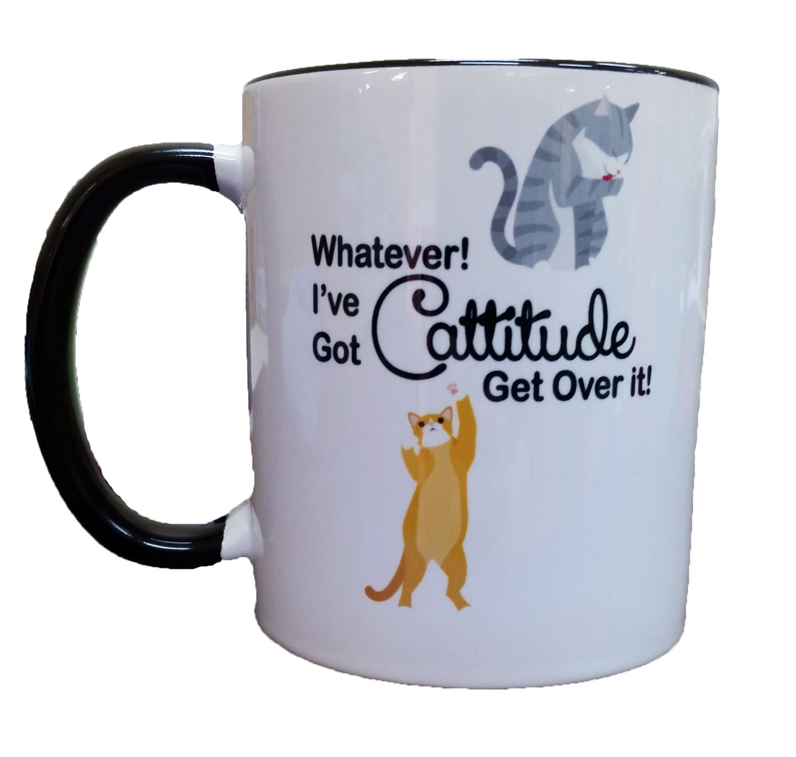 Whatever! I've Got Cattitude Get Over It! Coffee or Tea 11oz Mug - Perfect Gift for Cat and Animal Lovers by Dark Spark Decals (Image #1)