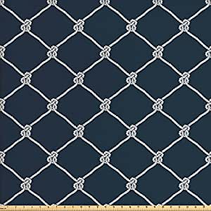 Navy Blue Decor Fabric by the Yard by Ambesonne, Navy Sea Yacht Themed Cool Classic Design in Vertical Rope Artwork, Decorative Fabric for Upholstery and Home Accents, Dark Blue and White