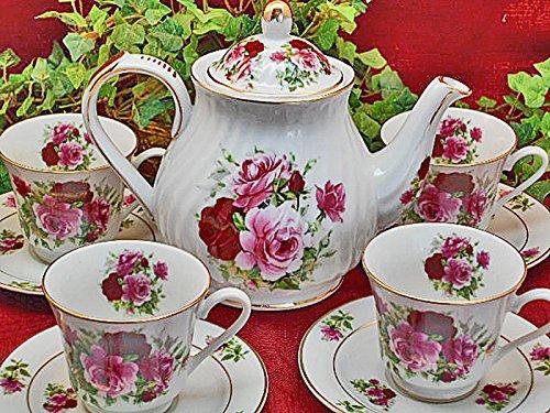 Summertime Rose Porcelain Tea Set- 4 Cups and Saucers - Tea Pot, Made in USA