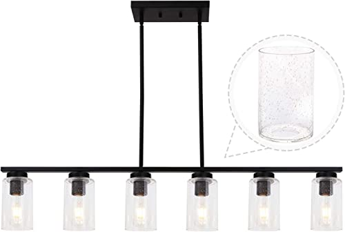 TODOLUZ 6 Lights Wide Black Farmhouse Chandelier with Seedy Glass Hanging Pendant Light Fixture for Kitchen Cafe Dining Room
