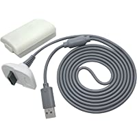 OSTENT 2 in 1 Charger Cable + Rechargeable Battery Pack Compatible for Xbox 360 Wireless Controller Color White