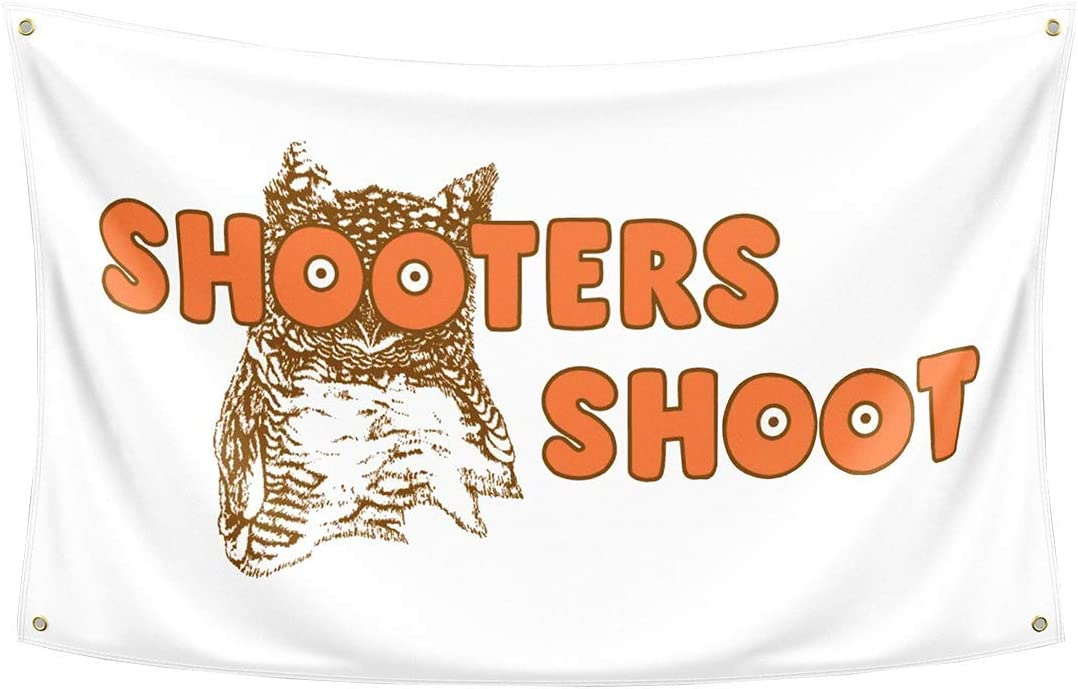 Probsin Shooters Shoot Flag 3x5 Feet Banner,Funny Owl Poster UV Resistance Fading & Durable Man Cave Wall Flag with Brass Grommets for College Dorm Room Decor,Outdoor,Parties,Gift,Tailgates
