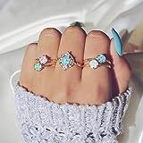 SMALLE ◕‿◕ Bohemian Knuckle Ring Set, Vintage Knuckle Temperament Blue Rings Set Stackable Rings Set Finger 5Pc