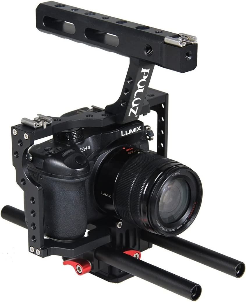 A7RIII /& A7 III A7R II /& A7S II Panasonic Lumix DMC-GH4 Camera Parts Accessories Color : Red Hyx Camera Cage Handle Stabilizer for Sony A7 /& A7S /& A7R