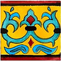 Rustico TR4ROSARIO Rosario - Caja mexicana de azulejos y piedra (90,4 x 4,4 cm, algodón/oro/turquesa/azul claro/negro)