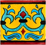 Rustico Tile and Stone TR6ROSARIO Rosario Talavera Tile Box of 45, 6x6 Inch, Terra Cotta, Gold, Turquoise, Light Blue, Black