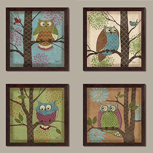4 Whimsical Fantasy Owls in Trees Home Decor Art Prints, Brown Framed Prints