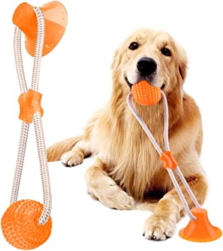 Suction Cup Dog Toy, Dog Tug Rope Chew Ball Toy with Suction Cup, Multifunction Pet Molar Bite Toy, Chew Resistant Suction Cup Style Dog Ball Toy, Dog