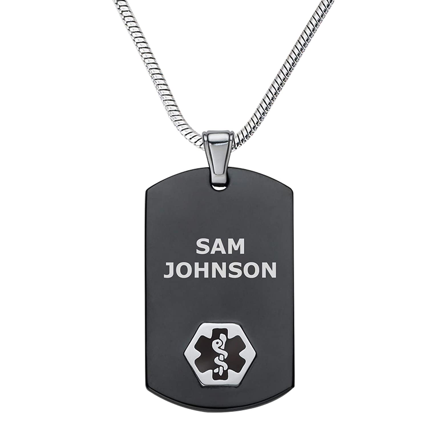 Divoti Deep Custom Laser Engraved Stainless Steel Medical Alert Necklace for Men, Chic Black Silver Medical ID Necklace, Medical Dog Tag w Free Engraving – 24 28 Various Chain -Color Options