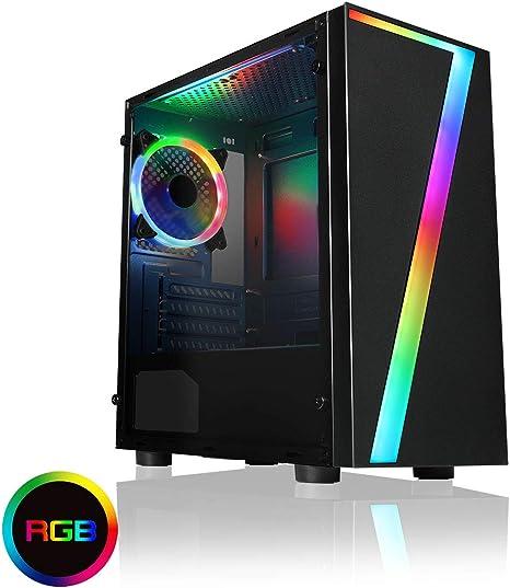 CiT Seven - Carcasa para Videojuegos con diseño de arcoíris RGB, 1 Ventilador de acrílico RGB, Color Azul: Amazon.es: Informática