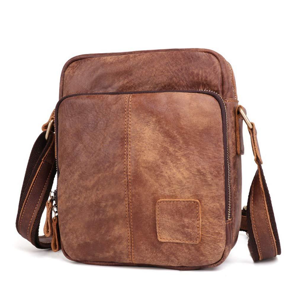 ROOKLY Echtes Vintage Hunter Leder Handgefertigt Herren Leder Alltäglichen Crossover Schulter Arbeit Tablet Messenger Bag,Braun