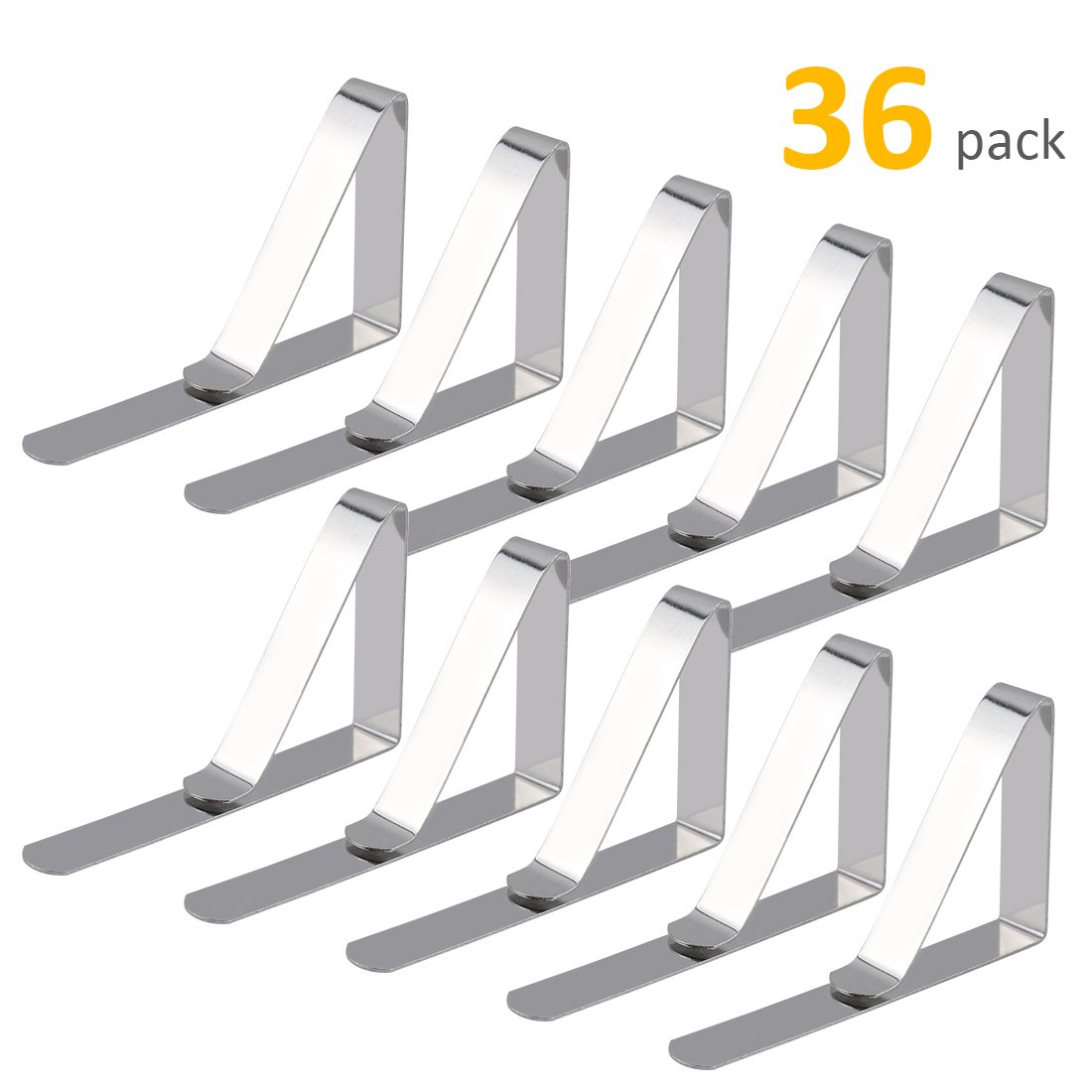 GROWNEER 36-Pack Tablecloth Clips, Stainless Steel Table Cover Clamps, Outdoor Picnic Table Cloth Holders