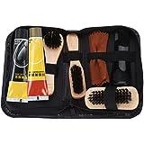 Raguso Kit de Cuidado y Pulido de Zapatos de 8 Piezas con pulidor de Zapatos Neutro Cepillos de Esponja de Mango de…