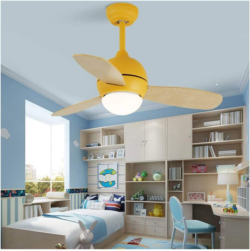 Amazon Com Ceiling Fans With Lights Led Ceiling Fan Light Modern Macaron Color Kid Room Bedroom Living Room Wood Art Fan Lamp Colorful Lamp Deco Fan Lights Fan Light Color Yellow Size