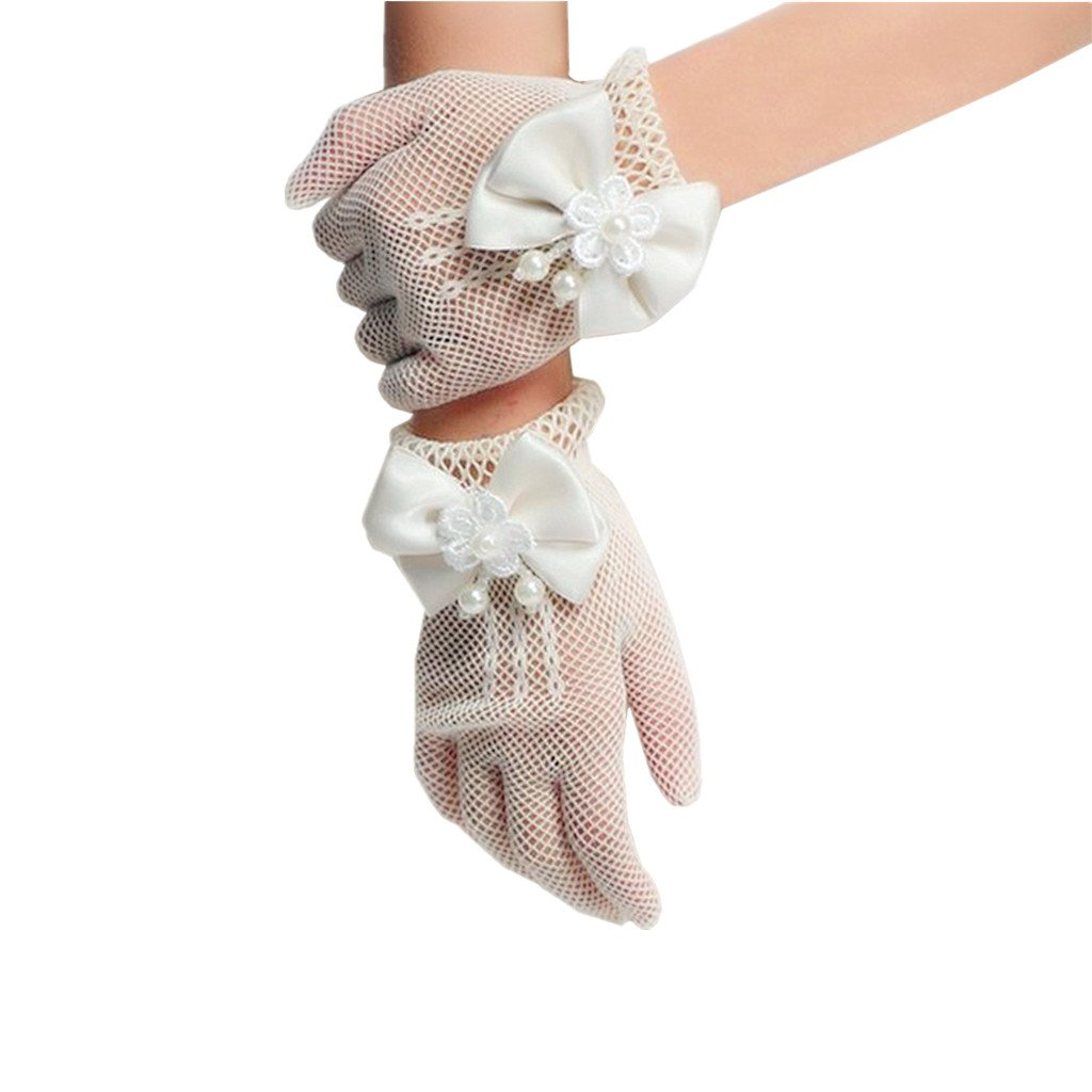 DreamHigh Wedding Flower Girls Mittens Pearl Bow Tie Fish Net Gloves Ivory
