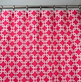 Cheap Hot Candy Pink and White Modern Chain Link Trellis Drape, One Rod Pocket Curtain Panel 96 inches long x 50 inches wide