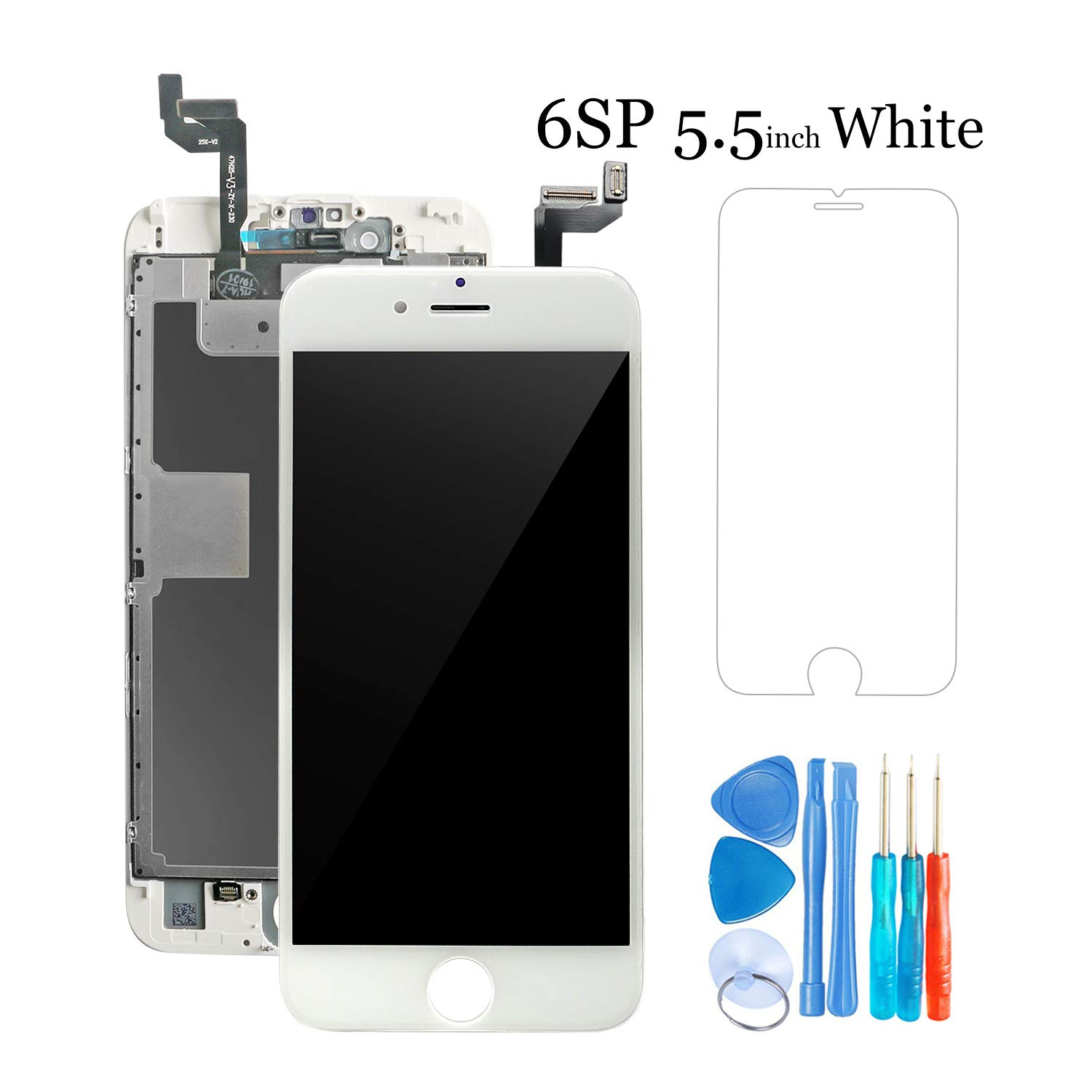 Screen Replacement Compatible for iPhone 6S Plus (5.5''), Hkhuibang Advanced LCD Display with 3D Touch Screen Digitizer Frame Complete Full Assembly and Back-Plate Pre-Installed (6SP White)