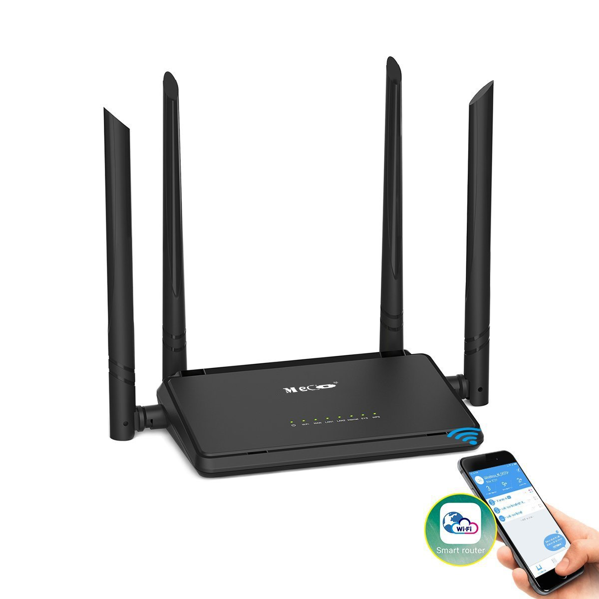 WiFi Router, MECO N300 Wireless Router with 4x5dBi High Gain External Antennas 2.4GHz Band Singnal Extender with Smart APP, Parental Controls, Good for Small House and Office