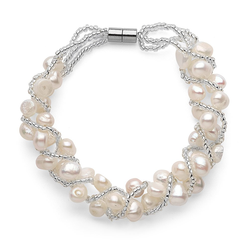 White Freshwater Weaved Pearl Bracelet, Magnetic Clasp SP30WMAGB-CAN