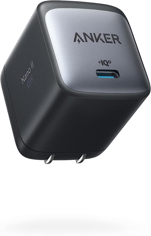 Anker Nano II 65W (PD 充電器 USB-C)【独自技術Anker GaN II採用/PD対応/PSE技術基準適合/折りたたみ式プラグ】