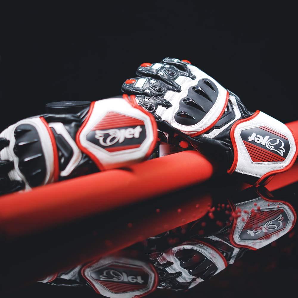Orange, L JET Motorradhandschuhe Premium-Leder Bel/üftete Hartschalen auf Kn/öcheln und Fingern