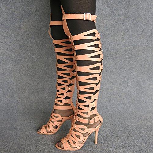 Tacón De Lin Super Color Sandalias De Botas Sandalias Xing color Roma De Moda Mujeres De Mujer Candy Super Ahuecado Nude Alto xZXdCqgw