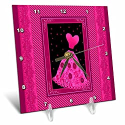 3dRose dc_30232_1 Hot Pink Flowered Dress with Stars and Striped and Damask Ribbon Frames-Desk Clock, 6 By 6-Inch