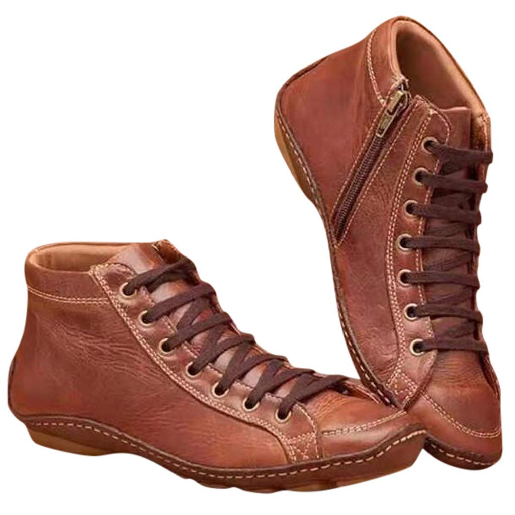 Women's Casual Round Toe Ankle Boots Retro Lace-up Flat Leather Short Boots Side Zipper Shoes Boots (US:6, Brown) by Aritone - Women Shoes