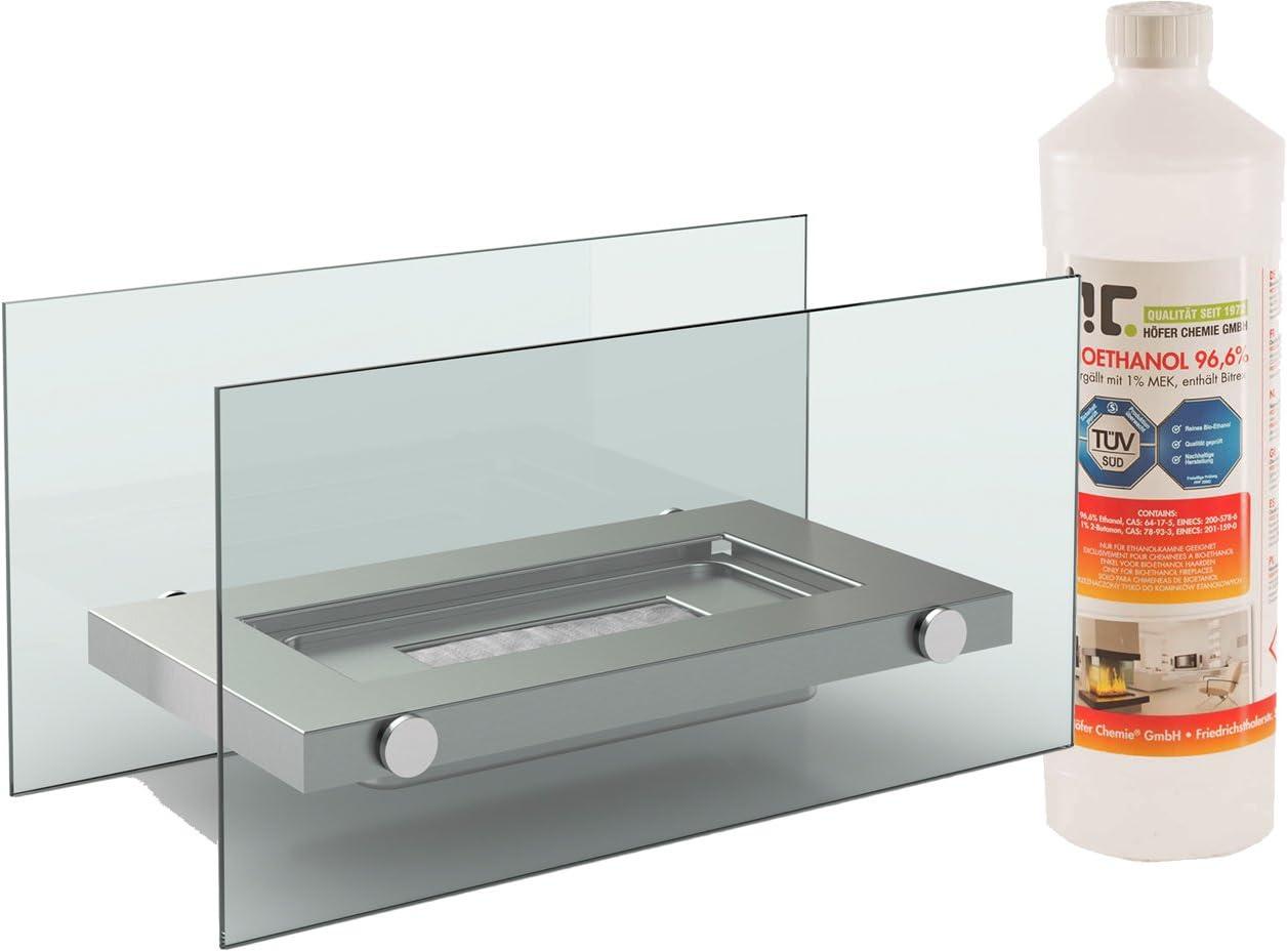 Diseño Mesa Chimenea Bioetanol + 1 L), en acero inoxidable, diseño ...