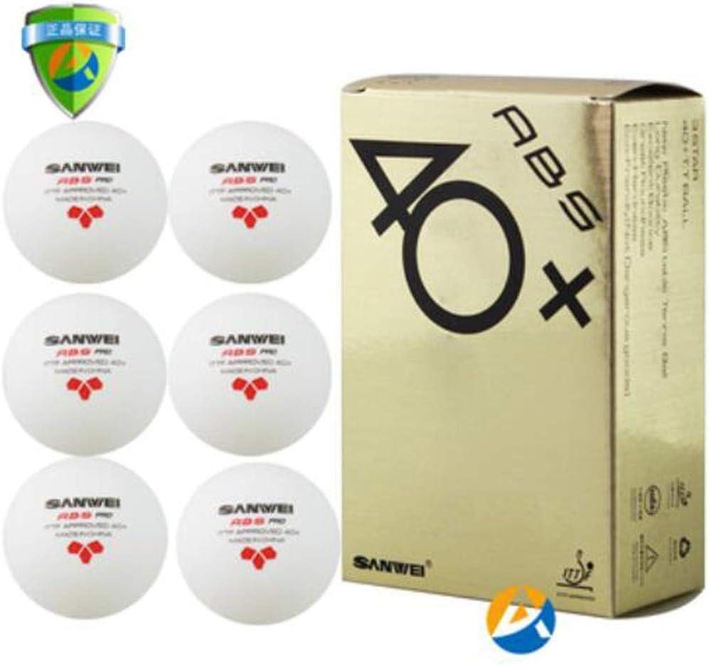 Jiansheng Mesa de Ping Pong, Bolas de Formación Profesional Internacional de la Competencia Nuevo plástico 3 Estrellas Nuevo Material 40+ Mesa de Ping Pong, 6 / Caja, Blanca
