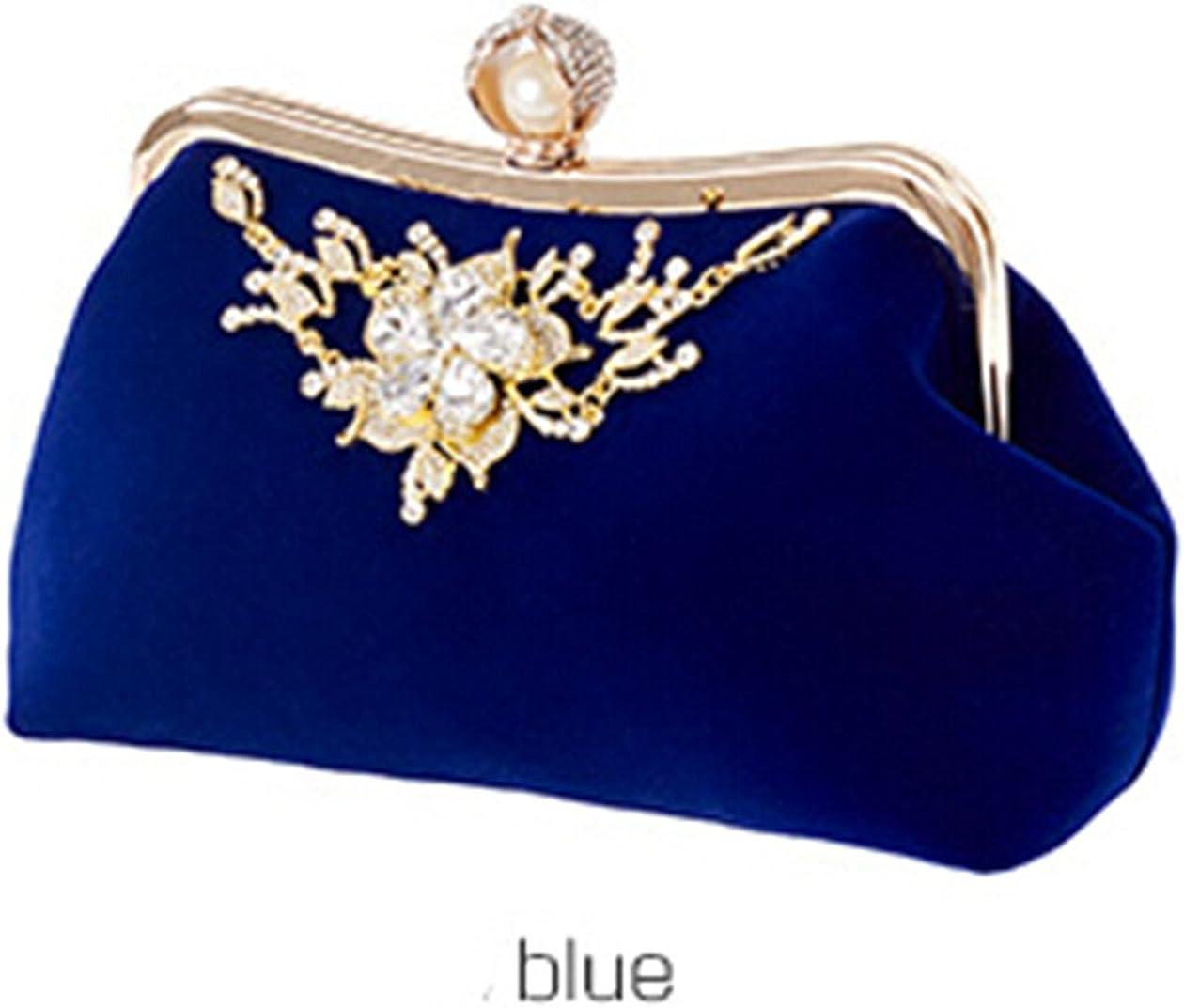 Crystal Flower Design Evening Bag Wedding Party Bride Clutch Velour Bag Purse