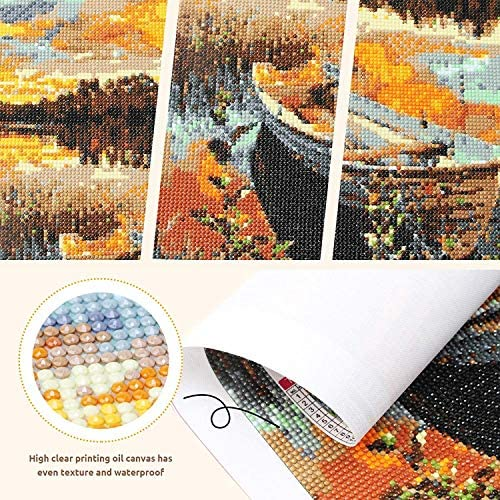 4 Packs DIY 5D Diamond Painting Kits,Diamond Painting by way of Number Kit Fulll Round Dril,Natural Scenery Round Full Drill,Diamond Craft for Home Wall Decor Gift (12 X 16 in)