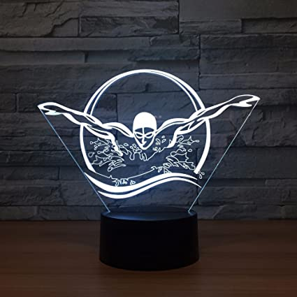 Amazon Com Aetd New Butterfly Stroke 3d Lamp 7 Color Led Night