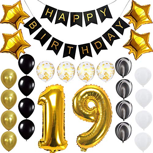 Happy 19th Birthday Banner Balloons Set for 19 Years Old Birthday Party Decoration Supplies Gold Black -