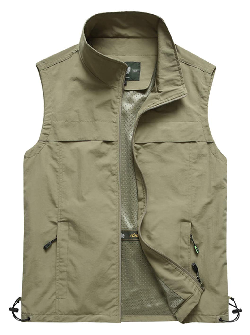 Gihuo Men's Lightweight Quick Dry Outdoor Multi Pockets Fishing Vest (Large, Style3-Khaki) by Gihuo
