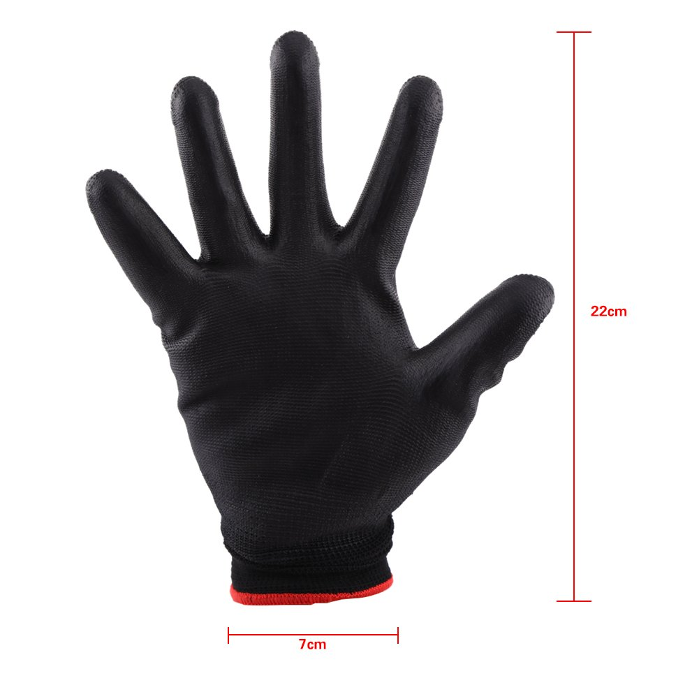 Safety Work Gloves, Polyurethane/Nylon Palm Coated Glove Garden Builders, Medium, Black (Set of 12 Pairs)