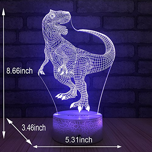 FlyonSea Night Lights Kids Bedside Lamp 7 Colors Change Remote Control Timer Kids Night Light optical illusion Lamps Kids Lamp As a Gift Ideas Boys Girls (Dinosaur) by FlyonSea (Image #6)