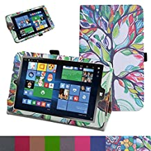 "Insignia NS-P08W7100 Case,Mama Mouth PU Leather Folio 2-folding Stand Cover with Stylus Holder for 8"" Insignia Flex NS-P08W7100 Windows 10 Tablet 2016,Love Tree"
