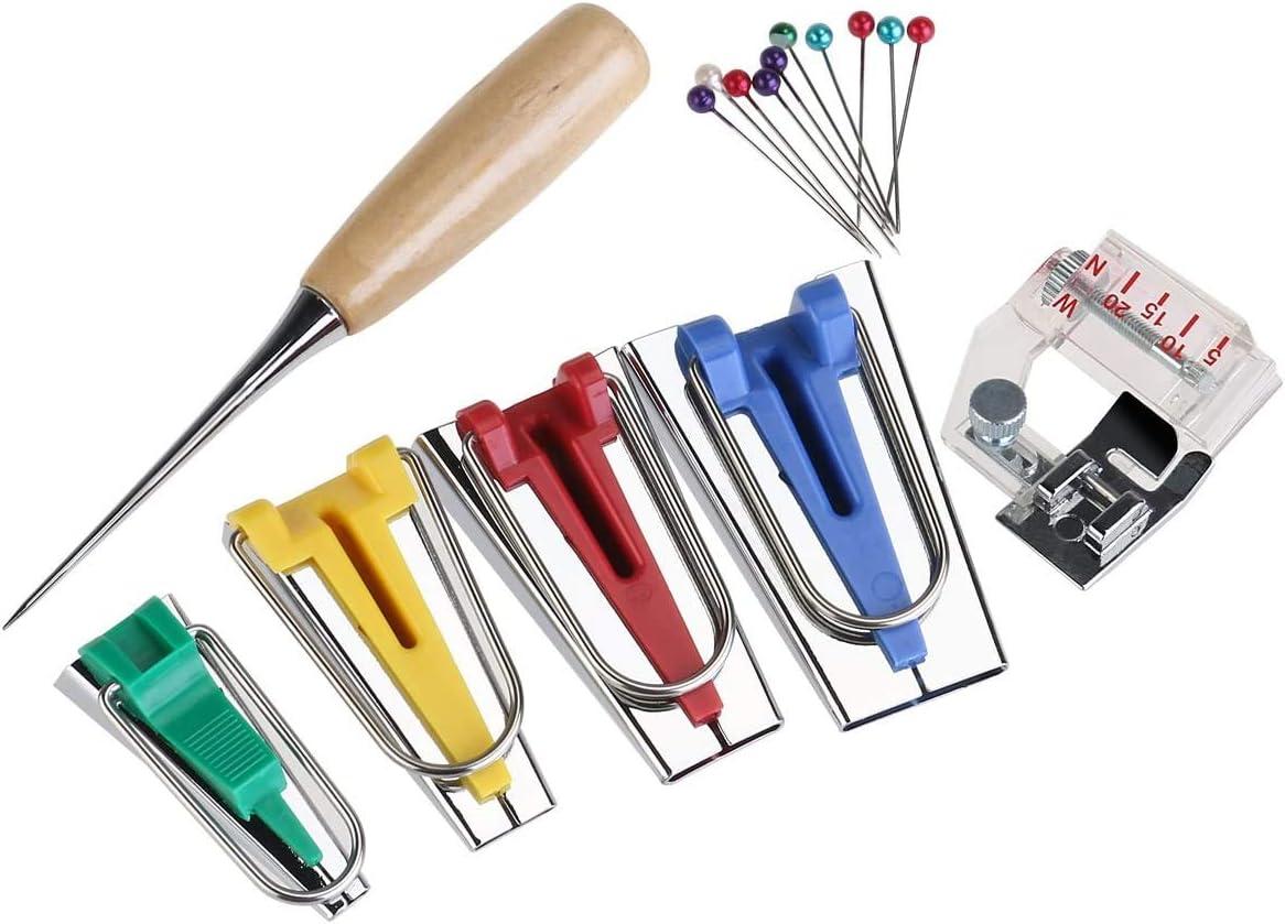 WAYXIN Sewing Sets Kits Bias Tape Maker Tool,Bias Tape Maker SetBinding Foot Awl Pin Set Quilt Sewing 16pcs Bias Tape Maker Set Fabric