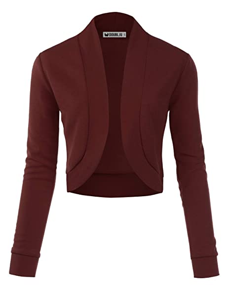 a54f6bcfbd69 TWINTH Women s Classic Long Sleeve Open Front Cropped Cardigans Ashbrown  Small
