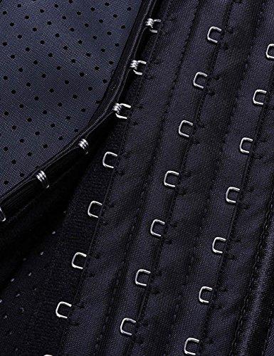 FeelinGirl Damen Vollbrust Korsett Training Sport Korsage Latex Waist Cincher mit Trägern Tailenmider Top Black-breathable