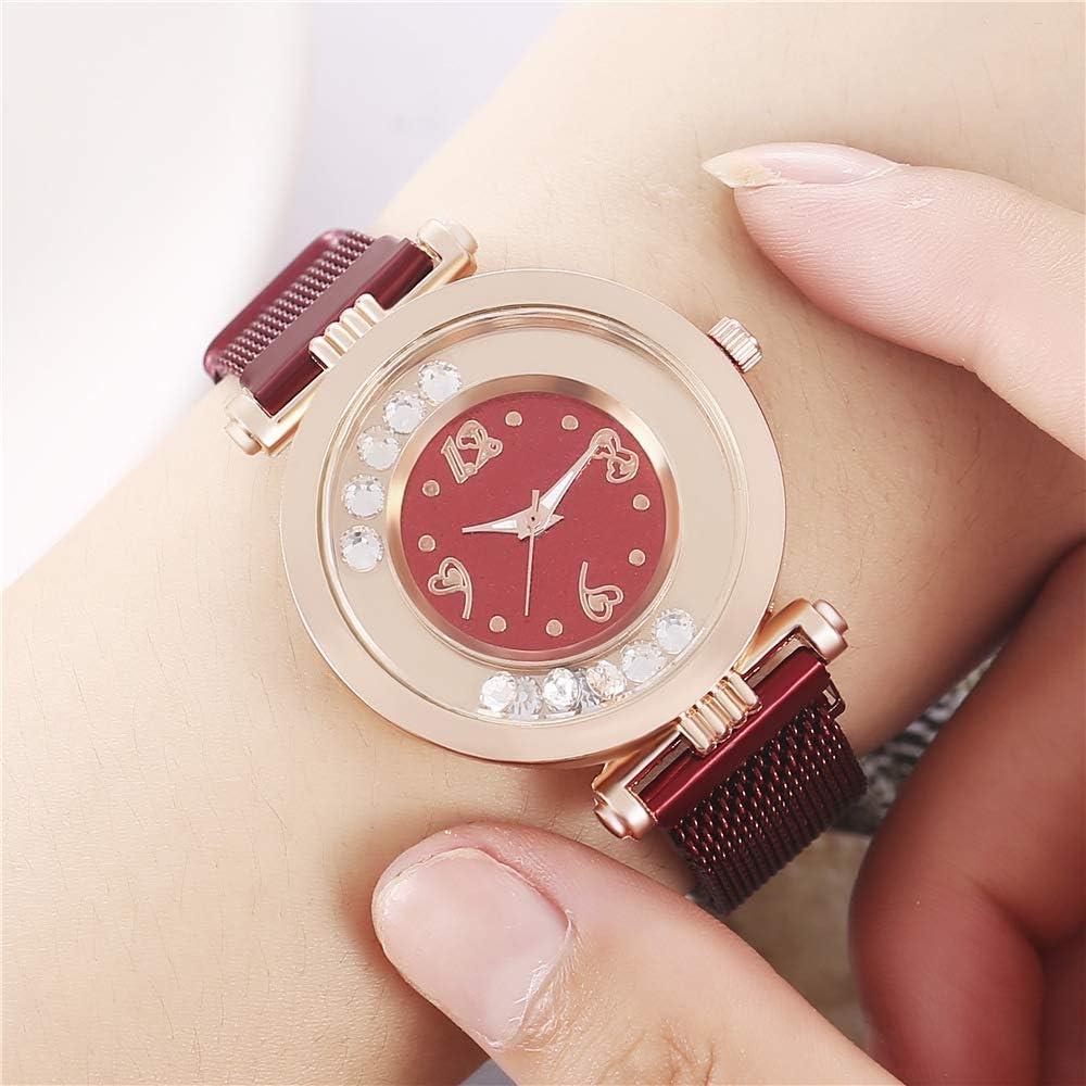 Allskid Femmes Montres Roulant Petit Strass Perles Cadran Magnétique Boucle Acier Inoxydable Engrener Bande Montre Bracelet Rouge