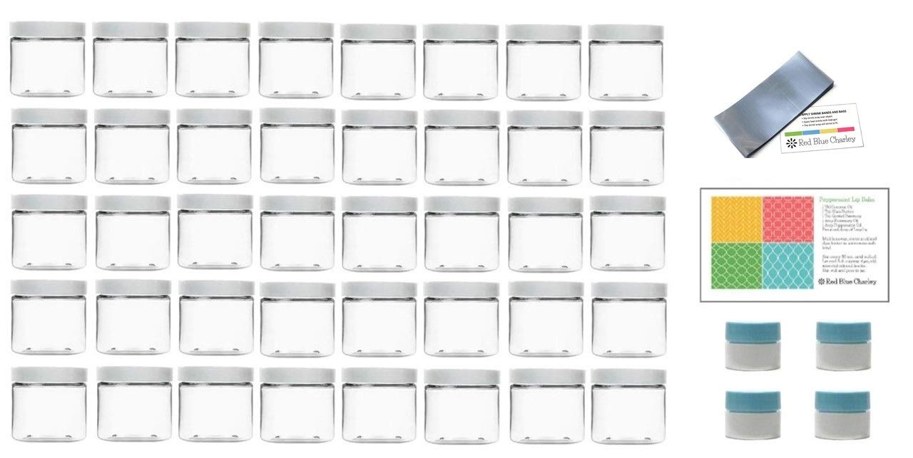 Clear 2 oz Plastic PET Jars with White Lids (40 pk) with Shrink Wrap Bands and 4 Mini Jars