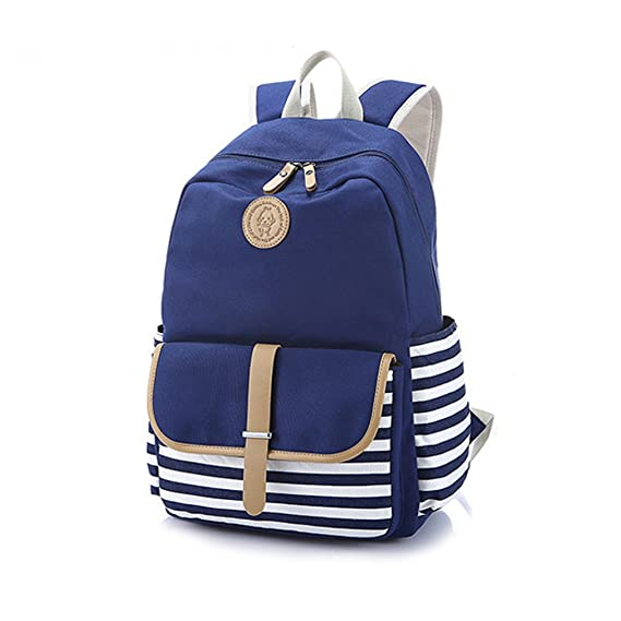 d72fa7c0f644 Blue Navy Stripe Backpack Rucksack School Bags for Ladies Women Girls  Casual Daypack  Amazon.co.uk  Luggage