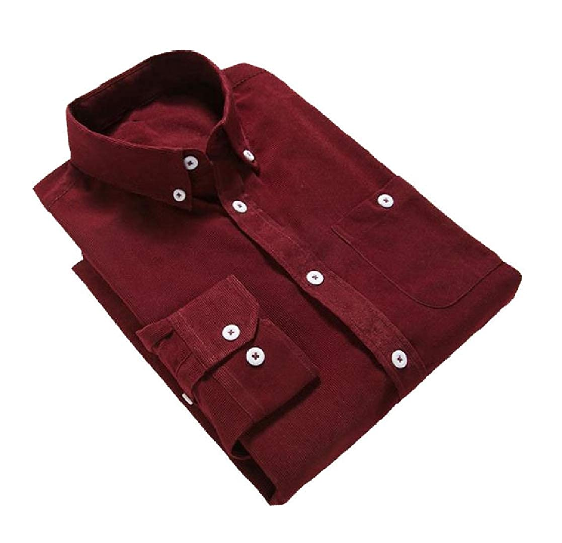 YUNY Mens Peaked Collar Long-Sleeve Plus-Size Corduroy Trim-Fit Shirts Wine Red 3XL