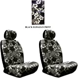Black Charcoal Hawaiian Hawaii Aloha Print with White Hibiscus Flowers Wild Series 2PC Car Truck SUV Auto Head Rest Covers with Front Seat Low Back Bucket Seat Covers - PAIR