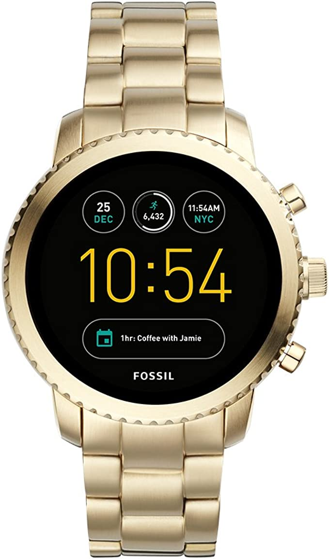 Fossil Q Mens Gen 3 Explorist Touchscreen Watch with Stainless-Steel Strap, Gold, 22 (Model: FTW4010)