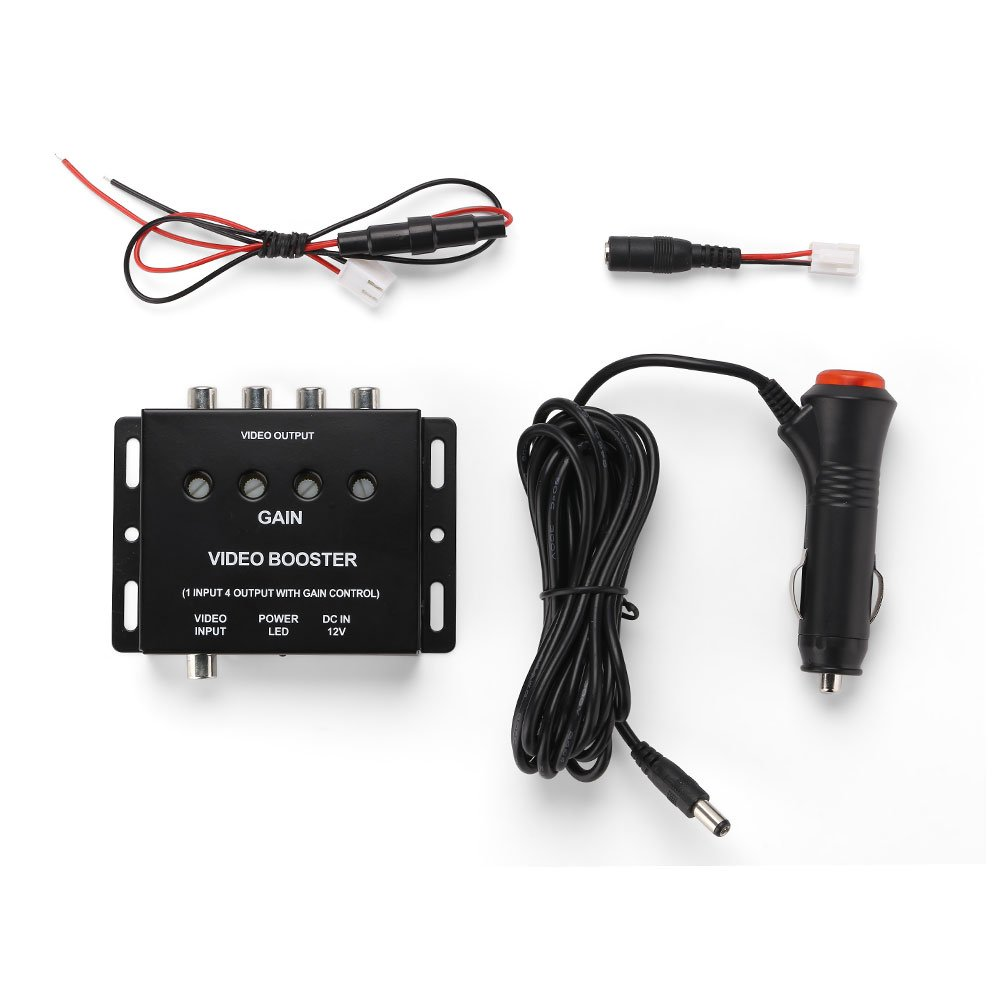 REARMASTER 4 Channel Car Video Splitter Amplifier for Car Overhead video 1 RCA in 4 RCA out