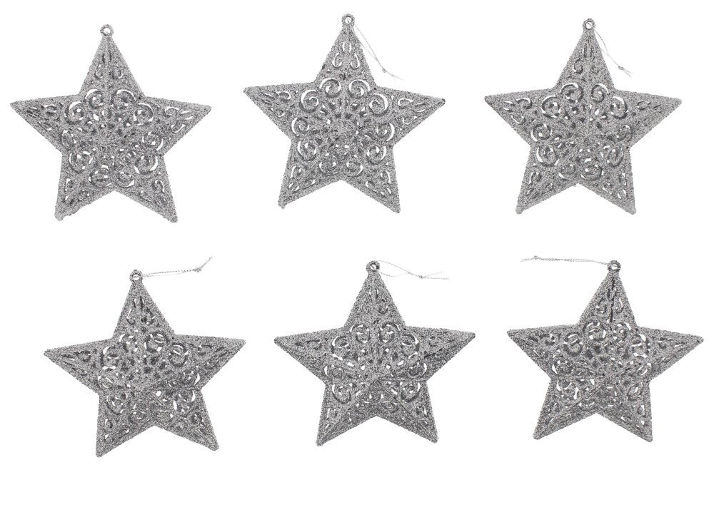 Elegant Christmas Sparkling Silver Star Ornaments Set of 6 | ChristmasTablescapeDecor.com